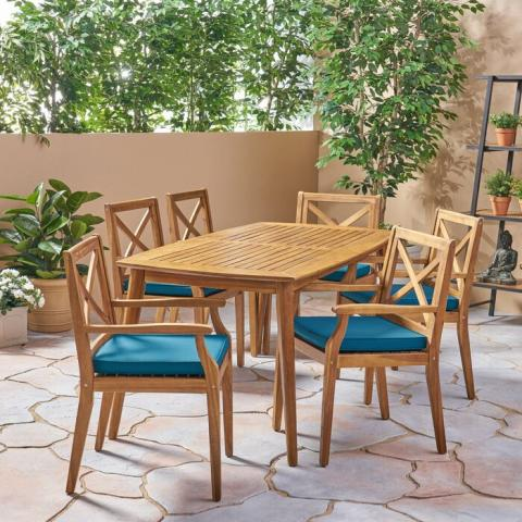 Minimalist Outdoor Dining Table Set, 6 Chair Model